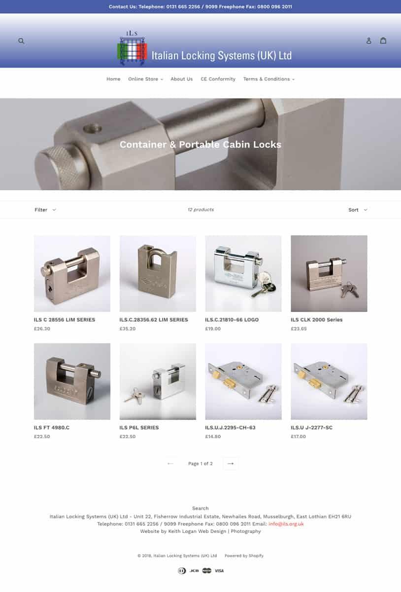 E-Commerce Website Design East Lothian Edinburgh Scotland Italian Locking Systems